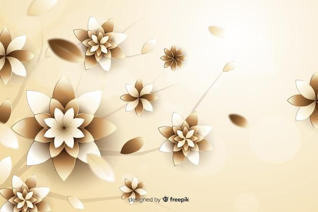 3d flores doradas sobre fondo beige
