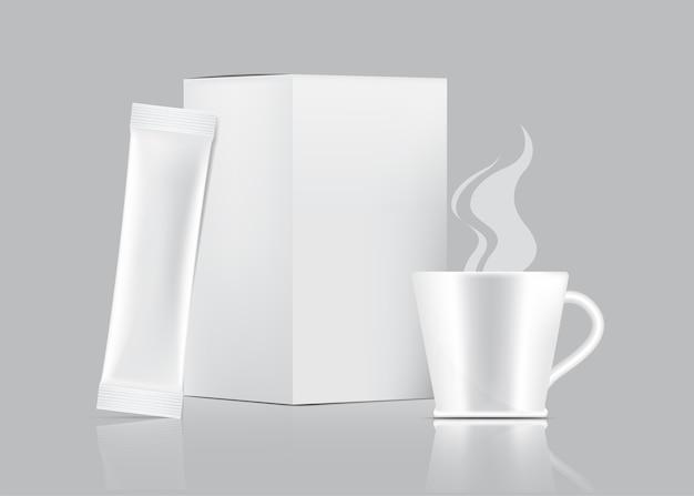 3d glossy stick sobre y taza con caja de papel aislada