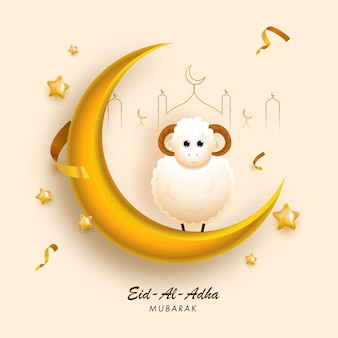 3d golden crescent moon con cartoon sheep, line art mosque y stars decorated on peach yellow background para eid-al-adha mubarak.