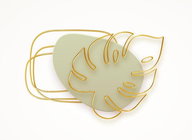 3d golden line art monstera deja un estilo de tendencia moderno