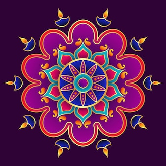 3d happy diwali mandala art, diseño rangoli y decoración diya