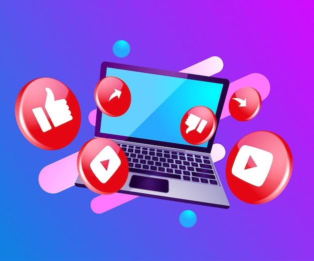 3d icono de redes sociales con laptop dekstop