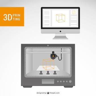 3d ilustración vectorial impresora