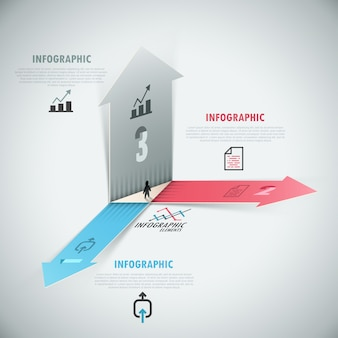 3d infografía moderna opciones banner con flechas realistas