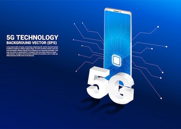3d isométrico 5g y teléfono móvil con icono de cpu.