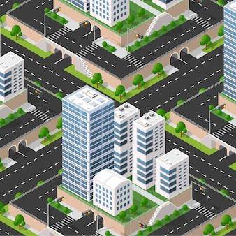 3d isométrico urbano del bloque de la ciudad con casas, calles.