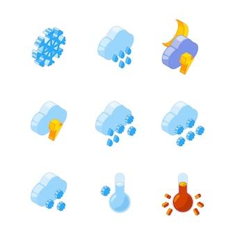 3d isométrico de varios símbolos meteorológicos
