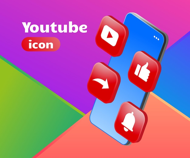 3d logo icono de youtube con smartphone
