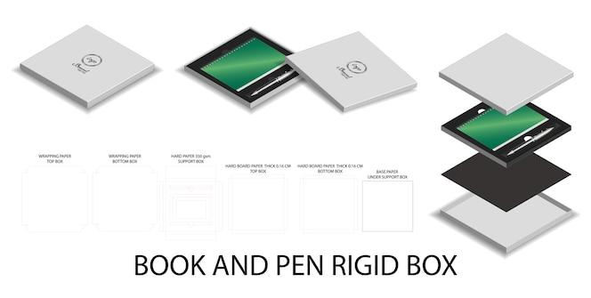 3d maqueta y dieline para libro y pluma