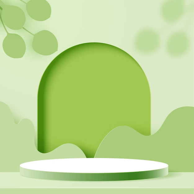 3d papel cortado fondo de forma geométrica mínima abstracta. podio de cilindro en el paisaje de la naturaleza verde.