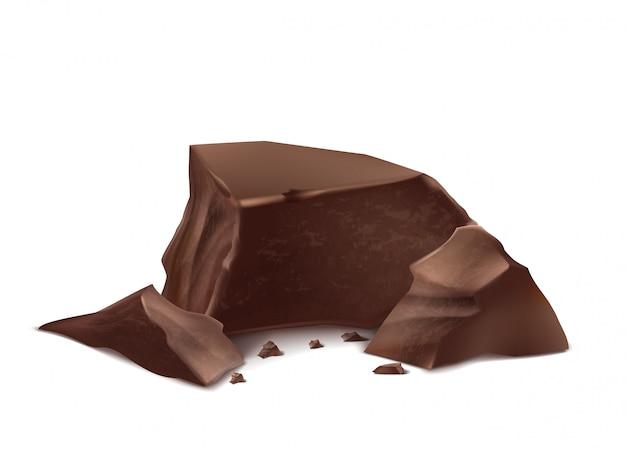3d piezas realistas de chocolate. deliciosas barras marrones para maqueta de empaque, plantilla de paquete.