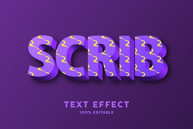 3d púrpura fresco con efecto de texto de patrón de garabato amarillo