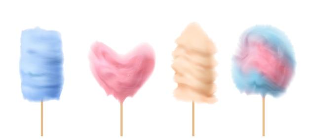 3d realista algodón de azúcar en palos de madera con diferentes formas - corazón, torre, nube.