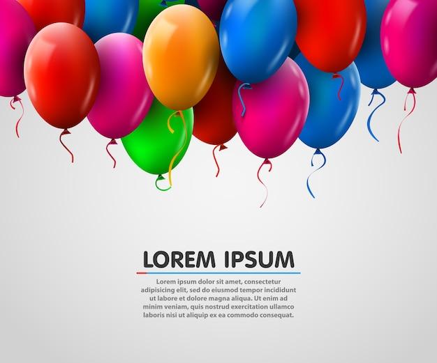 3d realista colorido montón de globos de cumpleaños volando para el partido y celebraciones
