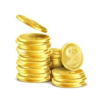 3d realista pila de monedas de oro con el símbolo s