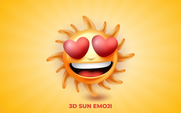 3d smilling sun emoji con corazón