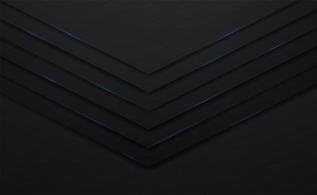 3d vector negro y línea de fondo cuadrado con sombra