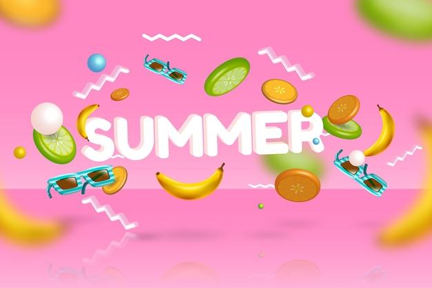 3d verano plátanos y gafas de sol