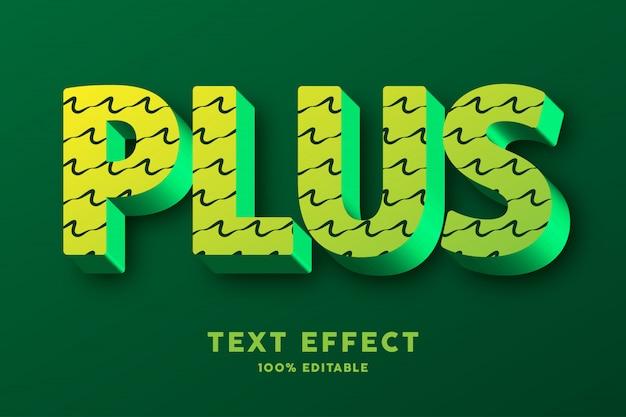 3d verde con patrón de garabatos, efecto de texto