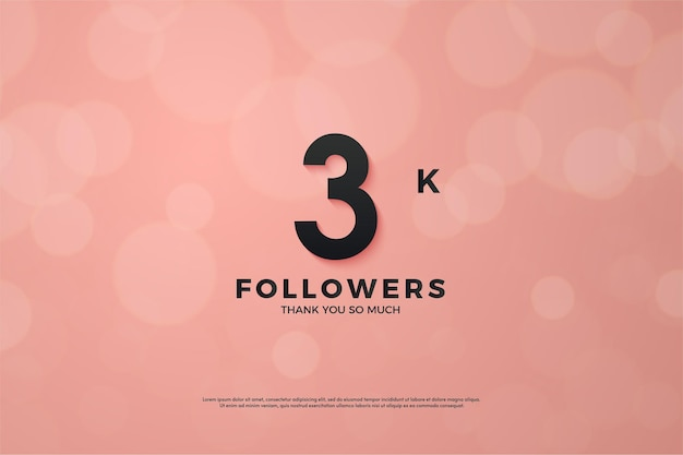 3k seguidor fondo rosa con numeros