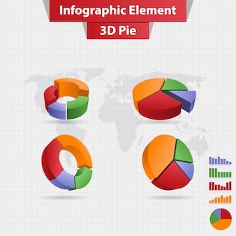 4 diferentes elementos infográficos 3d gráfico circular