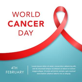 4 de febrero, bandera del día mundial del cáncer. conciencia de la cinta.