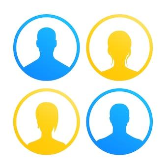 4 iconos de avatares para web en amarillo y azul sobre blanco, ilustración vectorial