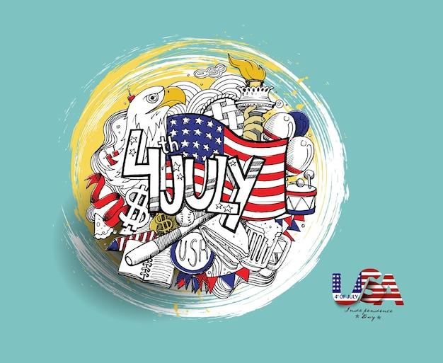 4 de julio - bandera estadounidense con el día de la independencia de eagel, ilustración de vector de boceto dibujado a mano.