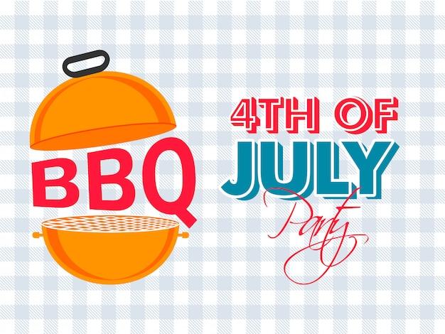 4 de julio banner de celebración de fiesta de barbacoa