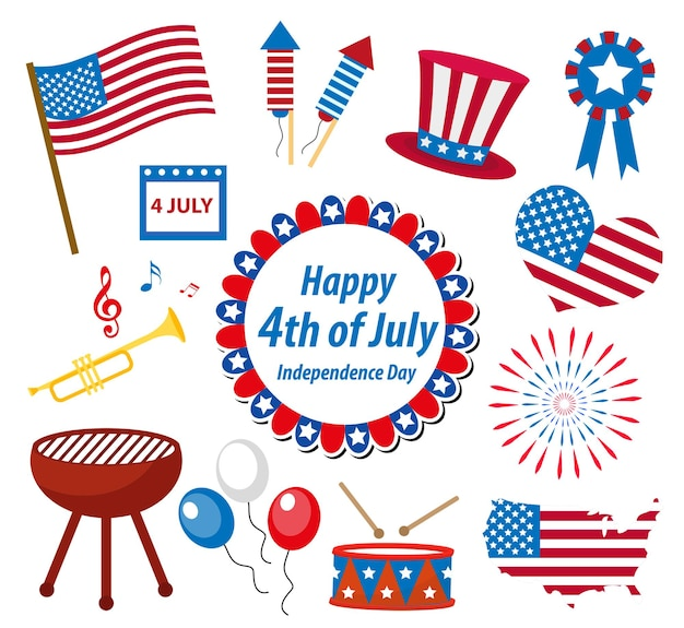 4 de julio celebración del día de la independencia de estados unidos en estados unidos, conjunto de iconos, elemento de diseño, estilo plano.ilustración de vector.