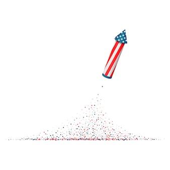4 de julio. cohete de fuegos artificiales