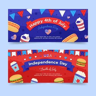 4 de julio - conjunto de banners del día de la independencia