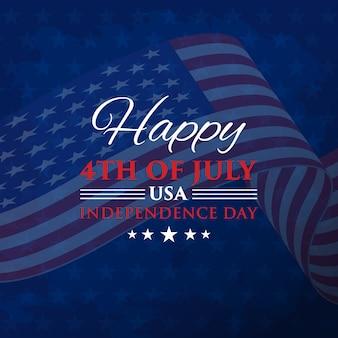 4 de julio día de la independencia con bandera