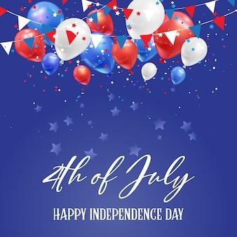 4 de julio día de la independencia de estados unidos con globos y confeti.