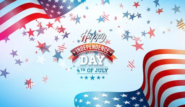 4 de julio día de la independencia de la ilustración vectorial de estados unidos