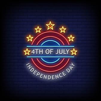 4 de julio, día de la independencia, letreros de neón, estilo, texto