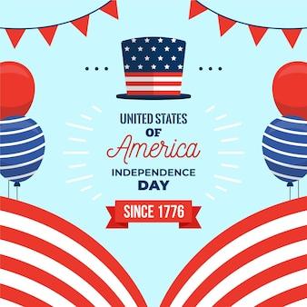4 de julio diseño plano de celebración