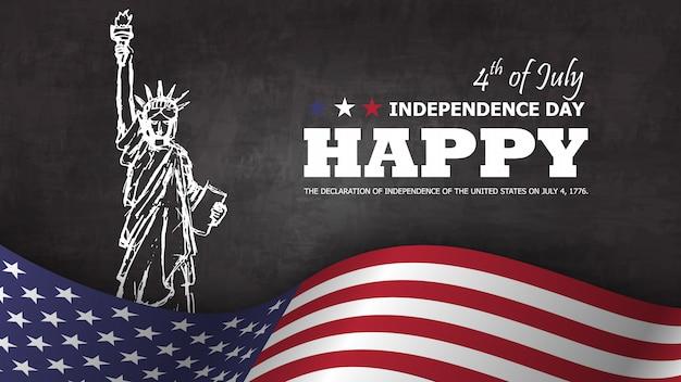4 de julio feliz día de la independencia de américa. estatua de la libertad que dibuja diseño con el texto y que agita la bandera americana en la parte inferior en la pizarra