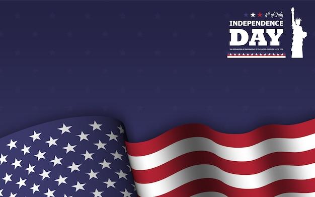 4 de julio feliz día de la independencia de américa fondo. estatua de la libertad diseño de silueta plana con texto y agitando bandera americana