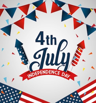 4 de julio feliz día de la independencia bandera y guirnaldas colgando
