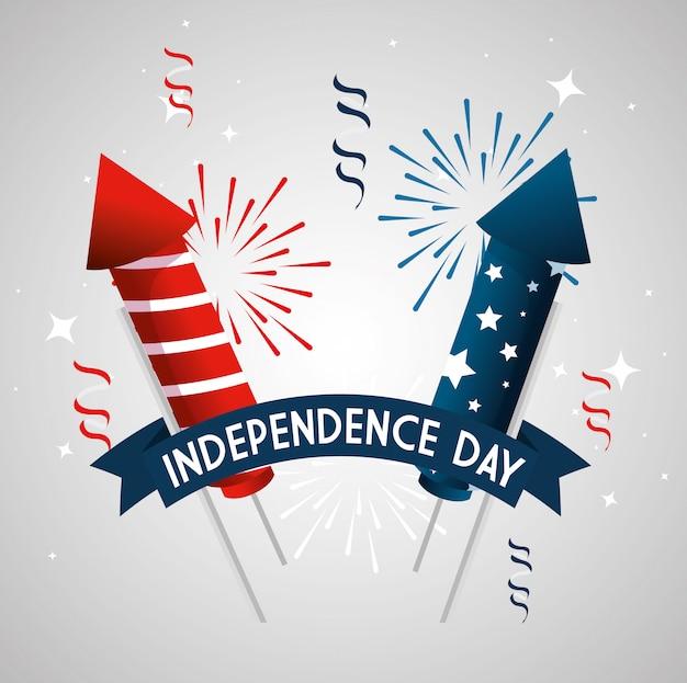 4 de julio feliz día de la independencia con fuegos artificiales y decoración
