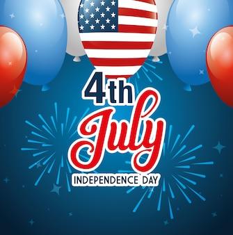 4 de julio feliz día de la independencia con globos helio