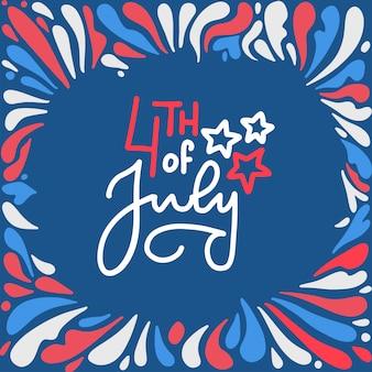 4 de julio feliz día de la independencia de letras. los fuegos artificiales patrióticos americanos forman el marco en color azul rojo blanco.