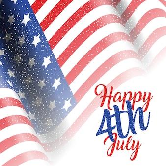 4 de julio de fondo con bandera estadounidense