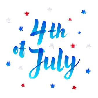 4 de julio. letras del día de la independencia con estrellas y confeti. marcador de estilo de boceto.