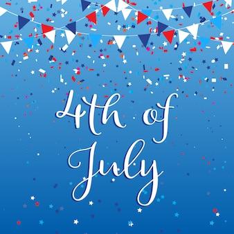 4 de julio usa con banderas y confeti.