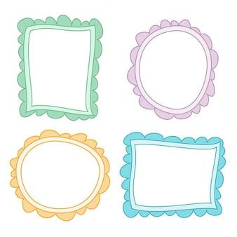 4 lindos marcos dibujados a mano