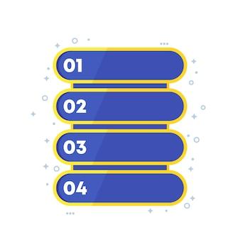 4 pasos, diseño de barra de progreso, vector