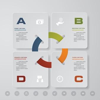 4 pasos modernos elementos de gráfico de infografía.