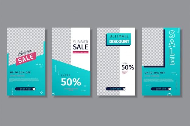 4 sets instagram venta instagram plantilla de historias usando gradiente azul